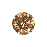 Round shape diamond with a vivid brown color