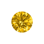 Round shape diamond with a deep yellow color