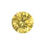 Round shape diamond with a fancy yellow color