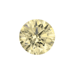 Round shape diamond with a very light yellow color