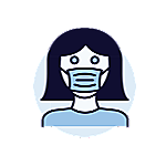 Icon of a woman wearing a mask.