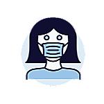 戴口罩的女士的圖。