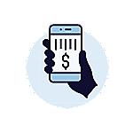 一隻握著電話的手進行零接觸支付的圖。