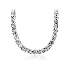 An intrecately woven necklace in Italian Sterling Silver.