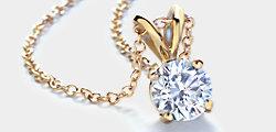 Pendentif solitaire diamant rond en or jaune 14carats