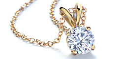 Round 14k Yellow Gold Diamond Solitaire Pendant