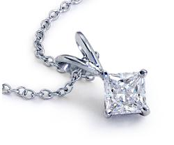 Princess-Cut Diamond Solitaire Pendants in 18k White Gold