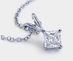 公主方形钻石单石铂金吊坠