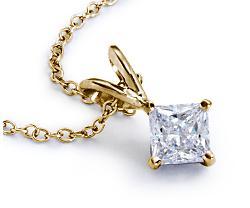 Princess 14k Yellow Gold Diamond Solitaire Pendant