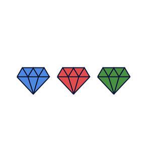 blue, red, green diamonds