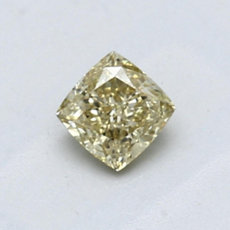 0.56-Carat Brownish Greenish Yellow Cushion Cut Diamond