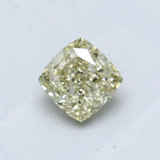 0,64-Carat Brownish Greenish Yellow Cushion Cut Diamond