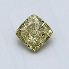 0.58-Carat Brownish Greenish Yellow Cushion Cut Diamond
