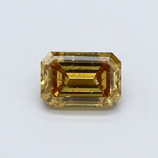 0,58-Carat Deep Brownish Orangy Yellow Emerald Cut Diamond