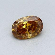 0.53 克拉深棕黃橙橢圓形切割鑽石