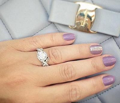 Monique Lhuillier Floral Halo Diamond Engagement Ring