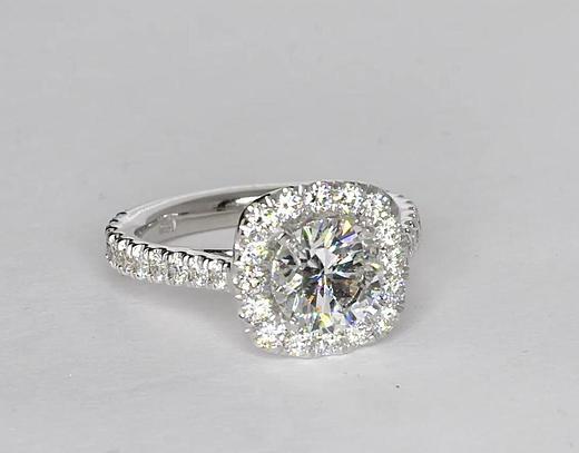 1.2 Carat Square Halo Diamond Engagement Ring