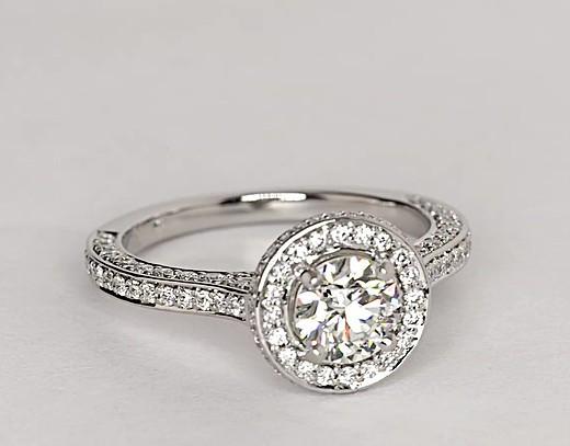 0.7 Carat Blue Nile Studio Royal Halo Diamond Engagement Ring
