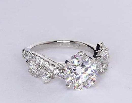 1,65 carat Bague de fiançailles diamant torsadé floral Monique Lhuillier