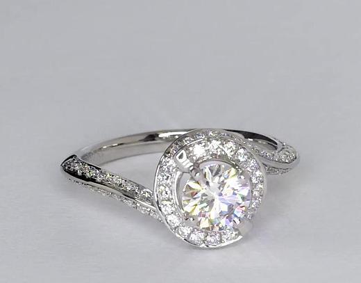 0.73 Carat Halo Pavé Diamond Engagement Ring