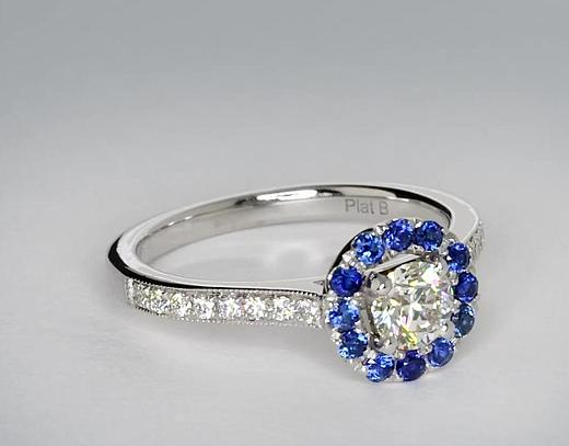 0.5 Carat Halo Sapphire and Diamond Engagement Ring