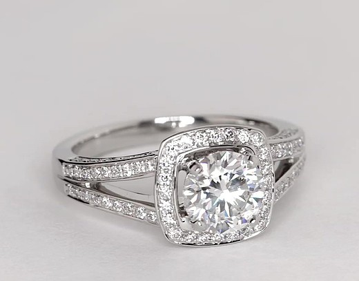 Monique Lhuillier Split Shank Halo Diamond Engagement Ring in Platinum