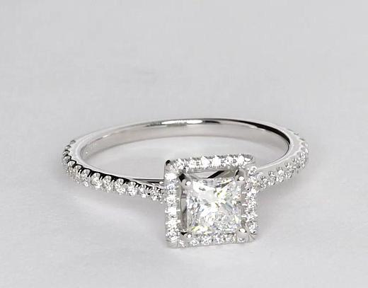 0.6 Carat Princess-Cut Floating Halo Diamond Engagement Ring