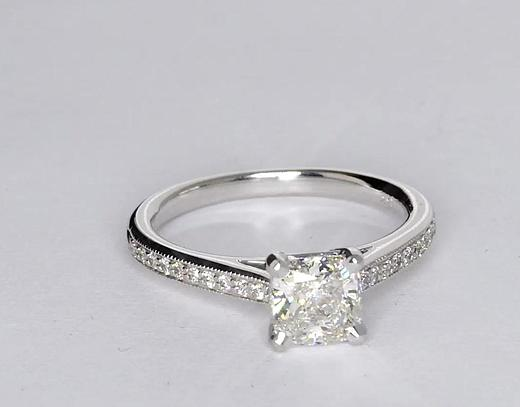1.02 Carat Riviera Pavé Heirloom Cathedral Diamond Engagement Ring