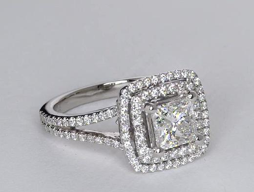 1,25 carat Bague de fiançailles double halo de diamants taille princesse Monique Lhuillier