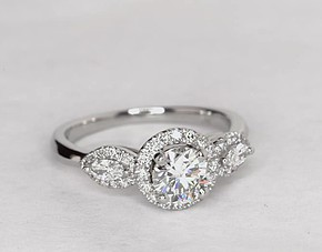 Monique Lhuillier Diamond Marquise Three Stone Halo Engagement Ring in Platinum (1/3 ct. tw.)