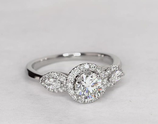 0.8 Carat Monique Lhuillier Diamond Marquise Three Stone Halo Engagement Ring