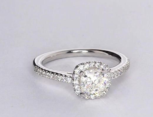 GIA Certified 1 Carat Cushion Cut Halo Diamond Engagement