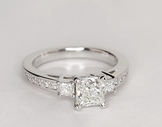 Trio Princess Cut Pave Diamond Engagement Ring In 14k White Gold 1 3 Ct Tw