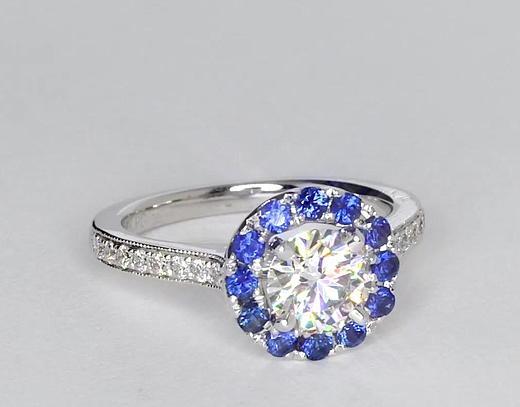 0.9 Carat Halo Sapphire and Diamond Engagement Ring