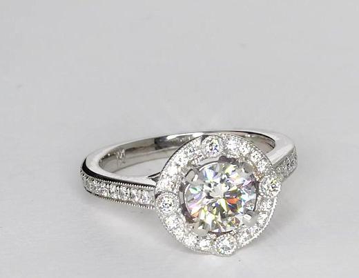 0.9 Carat Monique Lhuillier Milgrain Halo Diamond Engagement Ring