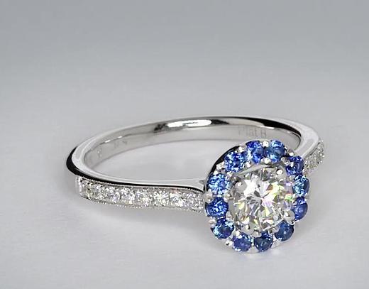 0.5 Carat Halo Sapphire and Diamond Engagement Ring
