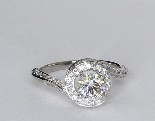 0.7 Carat Halo Pavé Diamond Engagement Ring