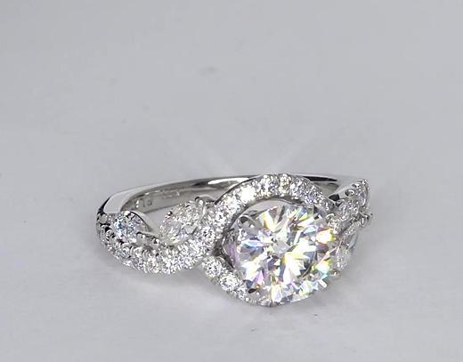 Anillos de compromiso de diamante floral de Monique Lhuillier de 1.36 quilates