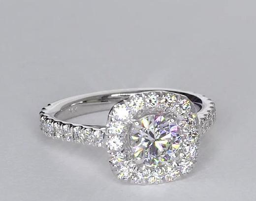 0.71 Carat Square Halo Diamond Engagement Ring