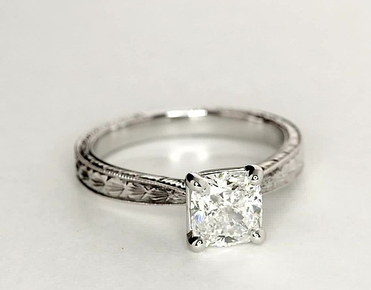 Hand-Engraved Solitaire Engagement Ring in Platinum