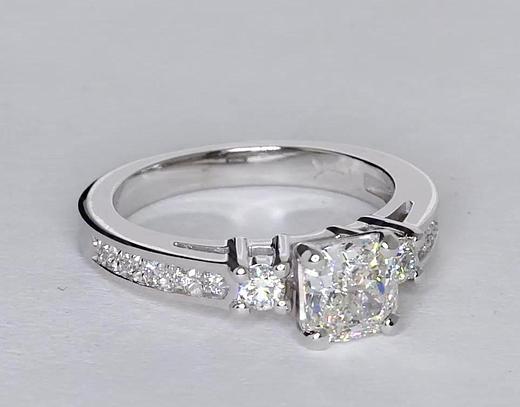 1.02 Carat Trio Pavé Diamond Engagement Ring