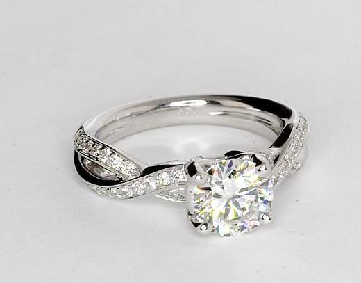 0.96 Carat Twist Pavé Diamond Engagement Ring