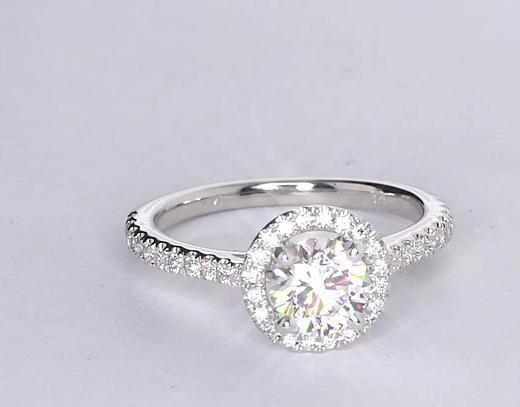 0,9 carat Bague de fiançailles halo flottant de diamants