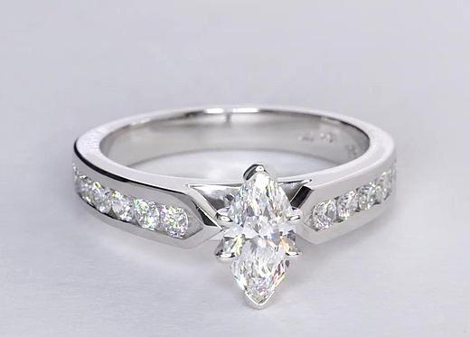 0,75 carat Bague de fiançailles diamant serti barrette