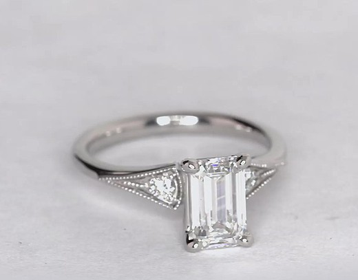 Heirloom Petite Milgrain Diamond Engagement Ring