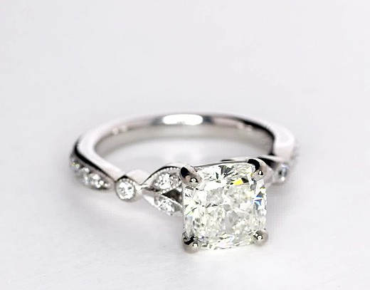 2.01 Carat Petite Vintage Pavé Leaf Diamond Engagement Ring