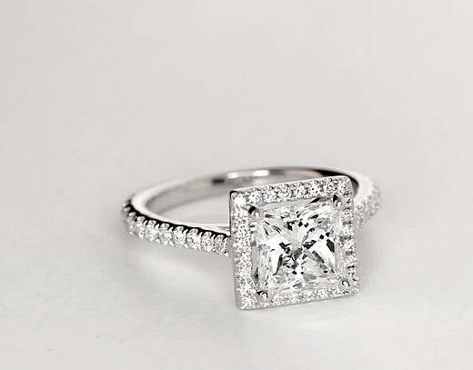 Princess-Cut Floating Halo Diamond Engagement Ring in 14k White Gold (1/5 ct. tw.)