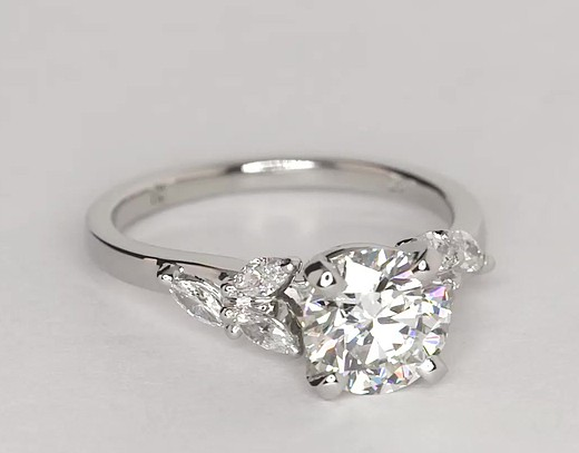 1.33 Carat Monique Lhuillier Jardin Diamond Engagement Ring