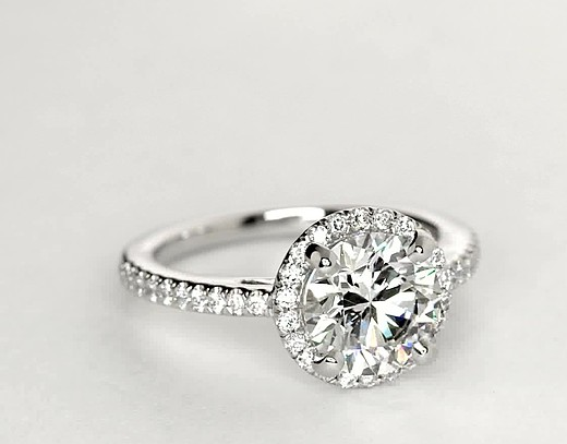 Classic Halo Diamond Engagement Ring in Platinum (1/4 ct. tw.)