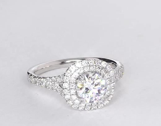0.82 Carat Duet Halo Diamond Engagement Ring